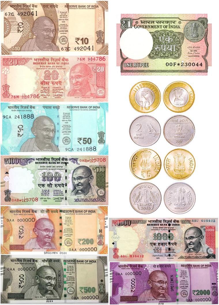 Rupie indiane: banconote e monete